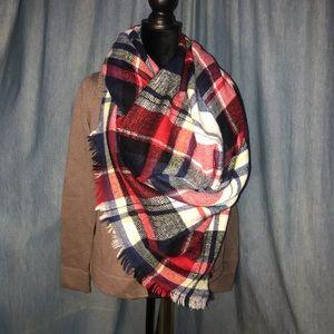 Unbranded Navy/Multi Tartan Wool Blend Maxi Scarf